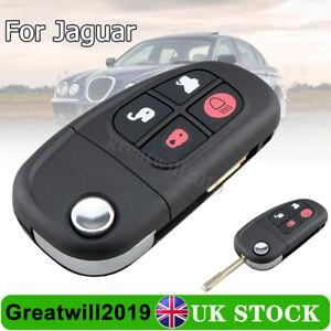 For Jaguar X-Type S-Type XJ XJR 4 Button Car Flip Remote Key FOB Case + Blade