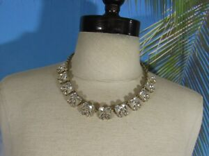"""Gold Tone Chain Necklace with Clear Rhinestones Marked J Crew 17"""""""