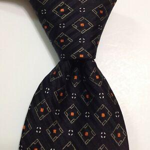 "DUNHILL Men's 100% Silk Necktie ITALY Luxury LOGO ""D"" Geometric Black/Tan EUC"