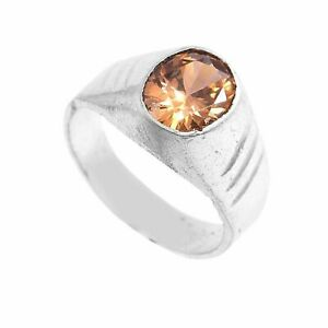 Solid 925 Sterling Silver Yellow Zircon Gemstone Mens Ring  AAA++ Jewelry