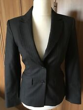 Señoras Crombie Gris a Rayas 100% lana chaqueta talla 8 Barberis Tela de negocios