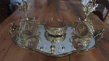 Lrg Ornate Gold Gild Cherub Ormolu Vanity Set Mirror 2 Perfume Bottle & Jewerly
