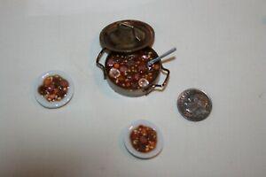 Miniature Dollhouse IGMA Artist Kiva Atkinson Weenies & Beans in Copper Pan w
