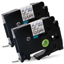 2 PK Label Tapes Compatible for Brother P-Touch TZ TZe131 Black on Clear 12mm