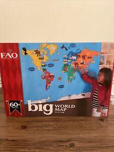 FAO Schwarz Big World Felt Learning Map Countries Oceans Animals Homeschool