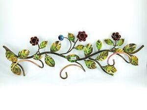 Attaccapanni appendiabiti in ferro battuto con rose a 3 posti colorati arredo