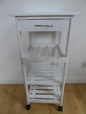 White Kitchen Trolley Table With Wheels Drawer Wooden Shelves And Wine Rack …