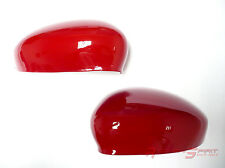 UNIQUE GLOSSY RED FIBER SIDE MIRROR COVER CAP FOR 12-16 FIAT 500 500C ABARTH