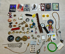 Lot 2 Junk drawerJewelry Knives Collectibles Pin Coin Watch Sports Cards More
