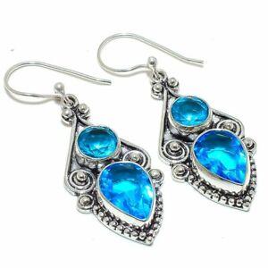 """Blue Topaz Gemstone 925 Sterling Silver Jewelry Earring 2.1"""" S2646"""