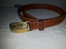 VTG SIERRA LEATHER made in USA solid brass buckle dress belt carmel 34