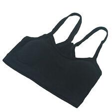 Women Ladies Strap Vests Sport Bra Cami Wrap Chest Soft Crop Top Black Underwear