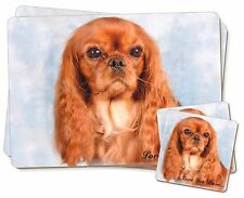 Ruby King Charles 'Love You Mum' Twin 2x Placemats+2x Coasters Set, AD-SKC3lymPC