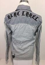 Blac Label Men's Large Shirt Gray Snap Bottoms Checks Unique Rare Pockets Skulls