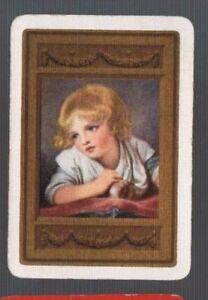 Swap Playing Cards 1 WIDE VINT ENG CHILD AT WINDOW BRONZE FRAME ART GREUZE 143EW