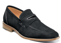 Stacy Adams Colfax Penny Loafer Shoes Black Suede 25205-008