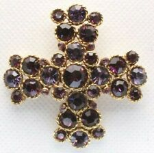 Brooch Pin - Maltese Cross - Purple Rhinestones - Gold Tone