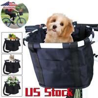 Pet Cat Dog Carrier Front Handlebar Basket Bike Detachable Bicycle Folding Bag