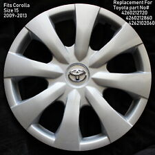 "ONE REPLACEMENT 15"" Fits Toyota Corolla Hubcap 2009 2010 2011 20120 2013 45015S"