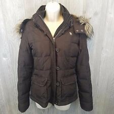 Abercrombie & Fitch Brown Down Jacket with Fur Hood Size Medium Warm Winter Coat