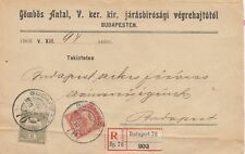 More details for hungary 1908 registered cover to budapest postal history j3088