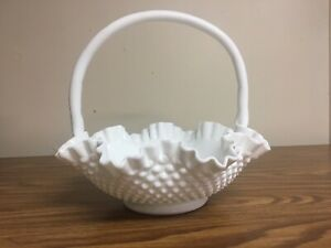 FENTON MILK GLASS HOBNAIL RUFFLED EDGE LARGE BASKET
