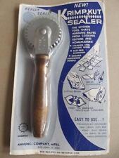 Vintage 60' American Krimpkut Sealer Dough Crimper Edger Wood Handle Unused Pckg