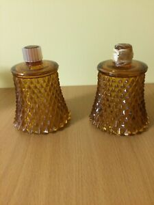 2 Gold Amber Diamond Point Votive Cups Homco Candle Holders Pegs 3.5 Inches