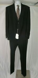 Valentino Tailoring Mohair Blend Dark Gray Gabardine Two Button Suit 50L NWT