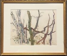 Joseph Solman (1909-2008) Color Monotype Sketch of Trees Signed Modernist Print