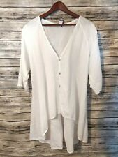 Match Point Size XL White 100% Linen 3/4 Sleeve High Low V-Neck Tunic Top