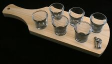 Bowler Pewter Set of 6 Shot Glasses with Wooden Paddle Tray Holder 039