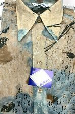 Vtg Burma Mens 1970s Disco Shirt Nos M or L Multicolor Sheer Polyester Lace