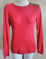 Lauren by Ralph Lauren Size S Red Long Sleeve Suede Elbow Patch Shirt Cotton