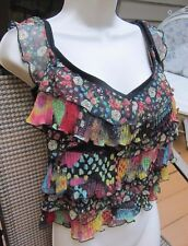 iKiTo Made in France~French crop top blouse w/ MOD Groovy Layered Front 42~LG