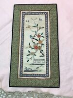 Vtg Chinese Hand Embroidered Silk Tapestry Pane Birds Flowers Asian Wall Decor