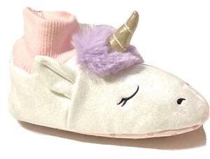 Cat & Jack Toddler Girls Unicorn Off White Glitter Accent Slippers Size S 5/6