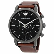 Emporio Armani Black Brown Chronograph Dial AR1919 Leather Men's Watch