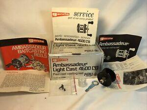 "Vintage ""Ambassadeur 4600 CB Reel Box,""Spare Spool,Instructions,Wrench,Parts,etc"