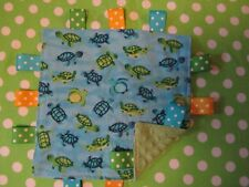 Blue with Blue and Green Turtles Flannel/Minky Baby Tag Ribbon Security Blanket