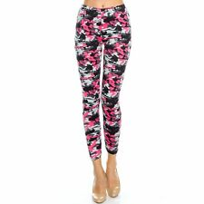 Women's Pink Camouflage Printed Leggings Buttery Soft Peach Skin One Size 0-12