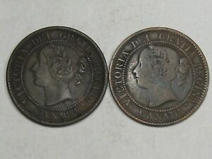 2 1859 Large Cents CANADA - 1 F/VF & 1 G.  #35