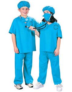 Blue Doctor Nurse Surgeon Scrubs Uniform Child Halloween Costume
