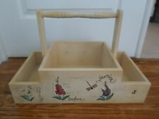 SOLID WOOD GARDEN TOOL BOX Plant CADDY Hand Painted Flowers