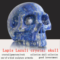 "Large 5"" Lapis Lazuli Natural Carved Crystal Skull Without Jaw, Hollowed Skull"