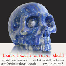 """Large 5"""" Lapis Lazuli Natural Carved Crystal Skull Without Jaw, Hollowed Skull"""
