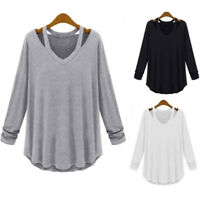 Women Casual Long Sleeve V-Neck Cotton Tee Tank Top Shirt  Loose Blouse Chic LJ
