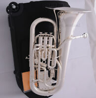 Professional Silver Plated Compensating System Euphonium W/ Trigger & Pro Case