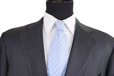Cesare Attolini for Vacca Suit Sz 44S Dark Gray W/ Bold Blue Pinstripe Recent