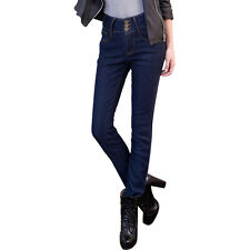 Women High Waisted Stretch Super SKINNY Fit Denim Jeans Jeggings Pants 6-14 Deep Blue 8